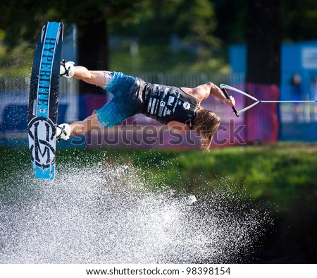 MELBOURNE, AUSTRALIA - MARCH 12: Sam Carne in the wakeboard event at the Moomba Masters on March 12, 2012 in Melbourne, Australia - stock photo