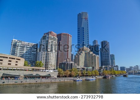 MELBOURNE, AUSTRALIA - MARCH 21, 2015: Southbank high skylines and buildings, one of the primary business centers and also one of the most densely populated areas on the beautiful sunny day.