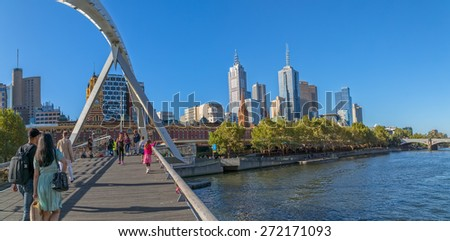 MELBOURNE, AUSTRALIA - MARCH 21, 2015: View of Southbank footbridge and city on Yarra river on the beautiful sunny day.
