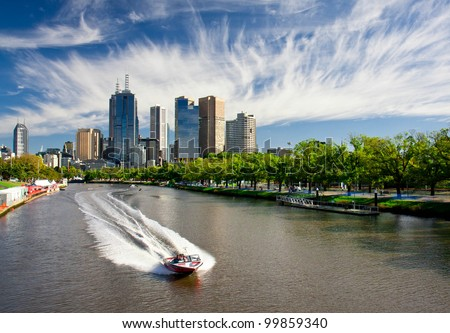 MELBOURNE, AUSTRALIA - MARCH 12: Yarra River and Melbourne skyline during the Moomba Masters waterski event on March 12, 2012 in Melbourne, Australia - stock photo