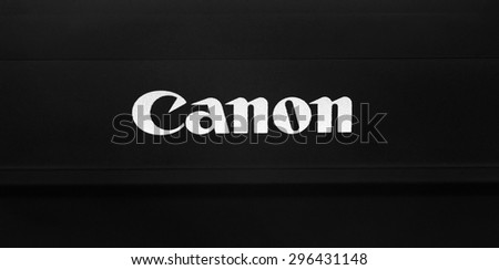 Melbourne,Australia- May 30,2015: Canon logo on dark. Canon  is a corporation specialized in manufacturing of imaging and optical products.
