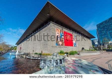 Melbourne, Australia - May 30, 2015: the National Gallery of Victoria was formed in 1861 and has a collection of 70000 pieces of art. - stock photo