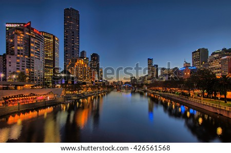 MELBOURNE, AUSTRALIA - MAY 24, 2016: View of Yarra river and Melbourne skyline from Princes Bridge