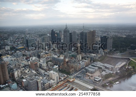 MELBOURNE, AUSTRALIA -NOV 22: Melbourne CBD sunset panorama from Eureka Skydeck 88 on November 22, 2011, Melbourne, Australia. Eureka Skydeck is the highest point of the city.  - stock photo