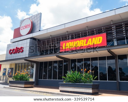 Melbourne, Australia - November 15, 2015: Coles Supermarkets is owned by Wesfarmers Limited. It operates more than 700 supermarkets throughout Australia including at Brandon Park.