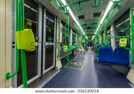 Melbourne, Australia - November 3, 2015: Interior of a C-class Citadis articulated tram, operated by Yarra Trams. The Citadis trams were manufactured by Alstom in France.