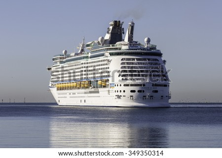 Melbourne, Australia - November 30, 2015: Royal Caribbean International cruise ship MS Voyager of the seas in Port Phillip Bay prior to docking at Station Pier. - stock photo