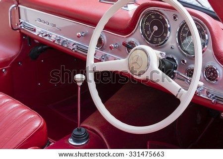 Melbourne, Australia - Oct 23, 2015: Close-up view of details of a Mercedes vintage car on public display in a car show
