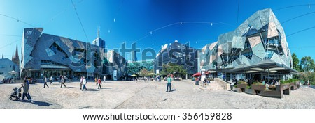 MELBOURNE, AUSTRALIA - OCT 19: Panoramic view of Federation Square on October 19, 2015 in Melbourne. It is a mixed-use development in the inner city of Melbourne, covering an area of 3.2 hectares. - stock photo