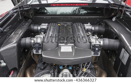 Melbourne, Australia - Oct 23, 2015: V12 engine under the hood of a Lamborghini Murcielago on public display in Melbourne, Australia