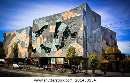 MELBOURNE, AUSTRALIA - OCTOBER 29 2012: Iconic Federation Square celebrated 10 Years.  Since opening on 26 October 2002 it has become one of the most visited attractions in Melbourne. - stock photo