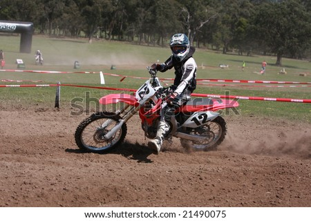 MELBOURNE, AUSTRALIA - October 11 2008: Woodstock 2008 Dirt Bike Master in Taralgon - #12 Dion Brillanti - stock photo