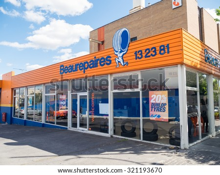 Melbourne, Australia - September 25, 2015: Beaurepairs is an Australian and New Zealand tyre store chain founded in 1922.