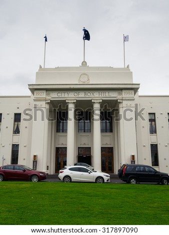 Melbourne, Australia - September 18, 2015: Box Hill Town Hall is a civic building completed in 1935. With the City of Box Hill merging to become the City of Whitehorse, it is now used for functions.