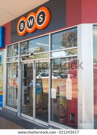 Melbourne, Australia - September 27, 2015: BWS, short for Beer Wine Spirits, is a liquor store chain operated by Woolworths, including this store in Boronia.