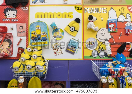 Melbourne, Australia - September 25, 2015: Close-up of Minions and Peanuts showbags in the Showbag Pavilion in the 2015 Royal Melbourne Show.