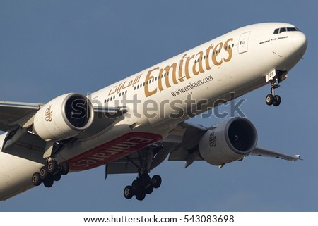 Melbourne, Australia - September 28, 2011: Emirates Boeing 777-31H/ER A6-ECS on approach to land at Melbourne International Airport.