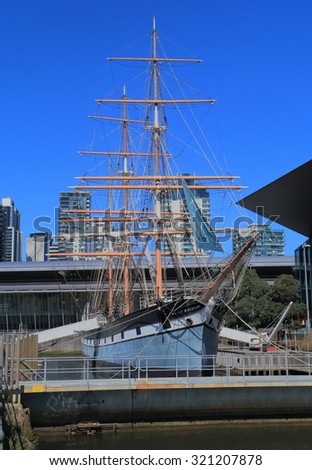 MELBOURNE AUSTRALIA - SEPTEMBER 26, 2015: Historical sailing ship Polly Woodside at South Wharf Melbourne. Polly Woodside is a historical museum ship launched in 1885,moored at South Wharf  - stock photo