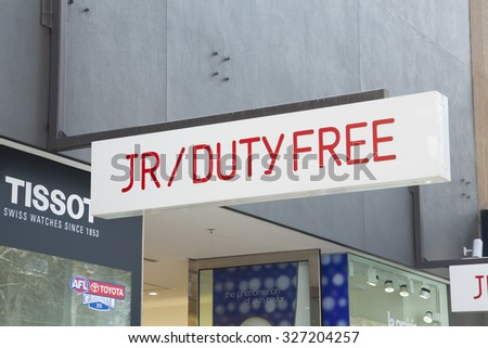 Melbourne, Australia - September 5, 2015:  Sign of a duty free shop in downtown Melbourne, Australia