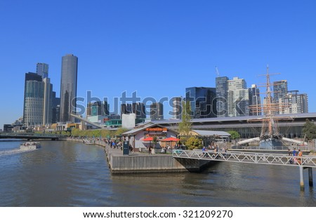 MELBOURNE AUSTRALIA - SEPTEMBER 26, 2015: Unidentified people visit South Wharf. Melbourne was selected as the worlds most liveable city for the 5th year in a row in 2015