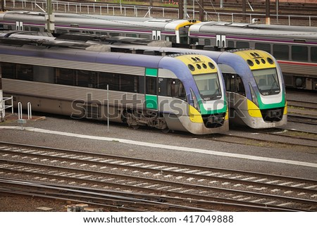 Melbourne, Australia-September 12, 2012. View from an overpass of the rail yards at Flinders Street Station, Melbourne, Victoria, Australia - stock photo