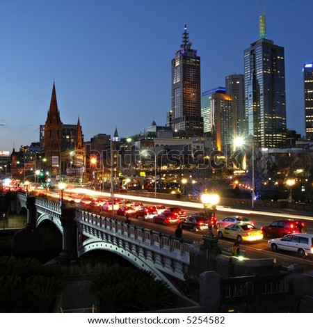 Melbourne by Night - stock photo