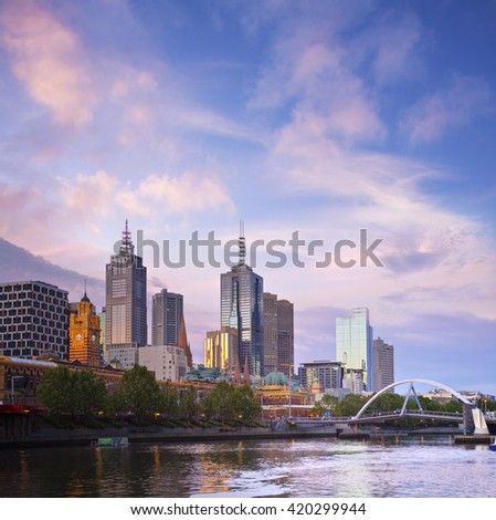 Melbourne, capital city of Victoria, Australia, at twilight, with a spectacular sky.
