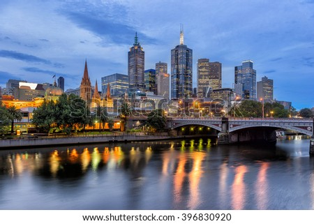 Melbourne CBD on the Northbank of the Yarra River - stock photo