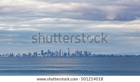 Melbourne CBD skyline at Dusk from Port Phillip waters. Melbourne, Australia