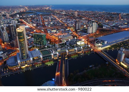 Melbourne City After Dark - stock photo