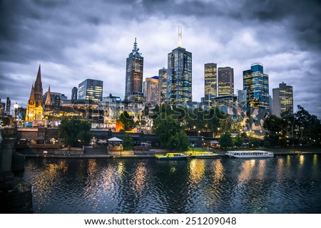 Melbourne city and the Yarra river at night, Australia.