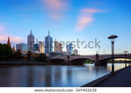 Melbourne city and the Yarra river with blue sky. - stock photo