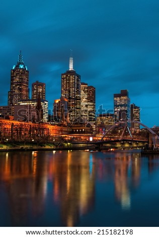 Melbourne city at night - stock photo