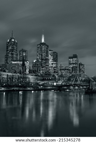 Melbourne city at night,toned picture - stock photo