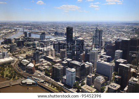 Melbourne city cbd aerial view from Eureka skyscraper day time with blue sky