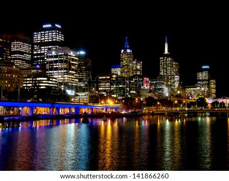 Melbourne city lights, looking down the yarra river