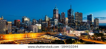 Melbourne City Skyline At Dawn - stock photo