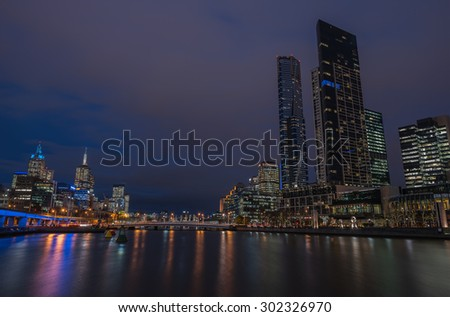 Melbourne city Skyline in the twilight time, Victoria, Australia.