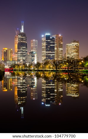 Melbourne City Skyline reflecting on the Yarra River - stock photo