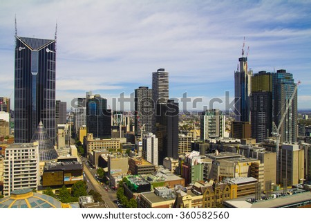 Melbourne City, the center of Melbourne. - stock photo