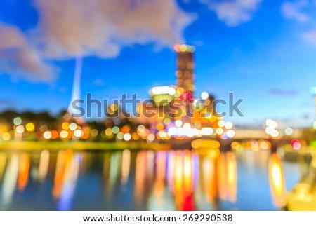Melbourne cityscape bokeh - stock photo
