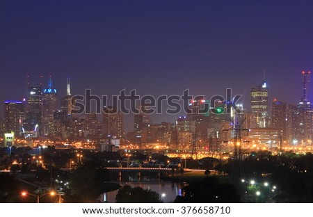 Melbourne cityscape night view Australia