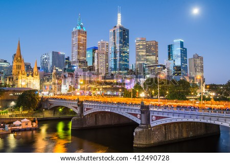 Melbourne cityscape the most liveable city in the world located in Victoria state of Australia.