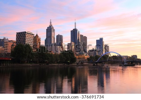 Melbourne dawn cityscape Australia  - stock photo