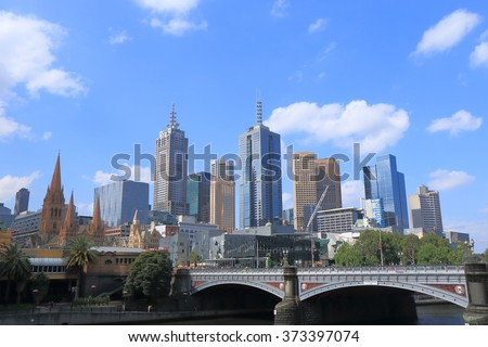Melbourne downtown cityscape Australia  - stock photo