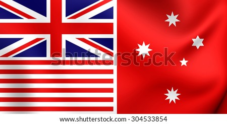 Melbourne Evening Herald Flag (red). Proposed Flag of Australia. Close Up.    - stock photo