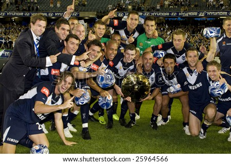 MELBOURNE - FEBRUARY 14: A-league Major Semi Final - Melbourne Victory 4 defeat Adelade United 0. The team celebrate after the game.