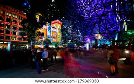 MELBOURNE - FEBRUARY 22: Melbourne's White Night attracted more than 500,000 visitors to the city centre and lit up its buildings as works of art - February 22, 2014 in Melbourne, Australia.
