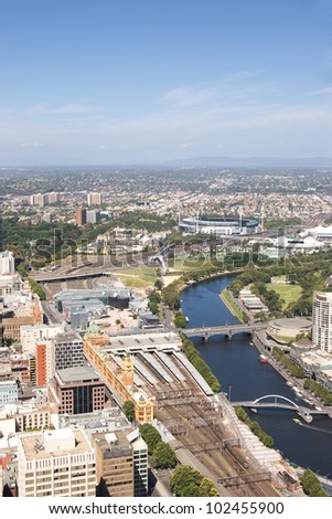 Melbourne from a birds-eye view, looking out towards the east. - stock photo