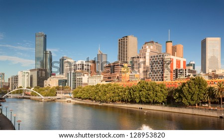 Melbourne from Southbank looking across towards Flinders Street Station - stock photo